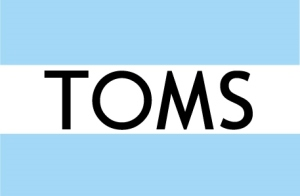 The logo of TOMS shoes, which is sewn onto the back heel of TOMS shoes.