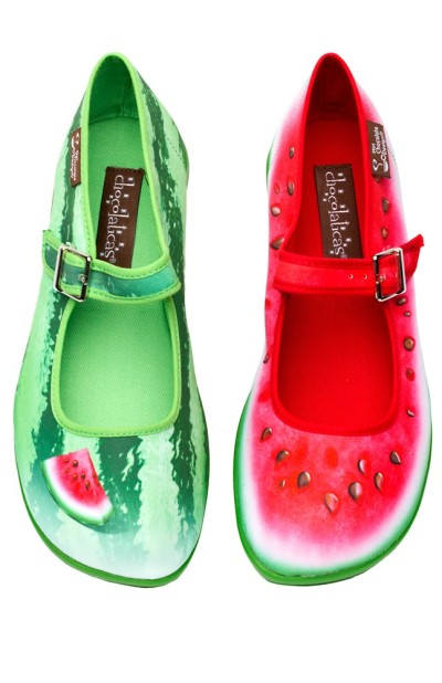 The woman I saw was wearing watermelon shoes by Hot Chocolate Design, from their chocolatica range.